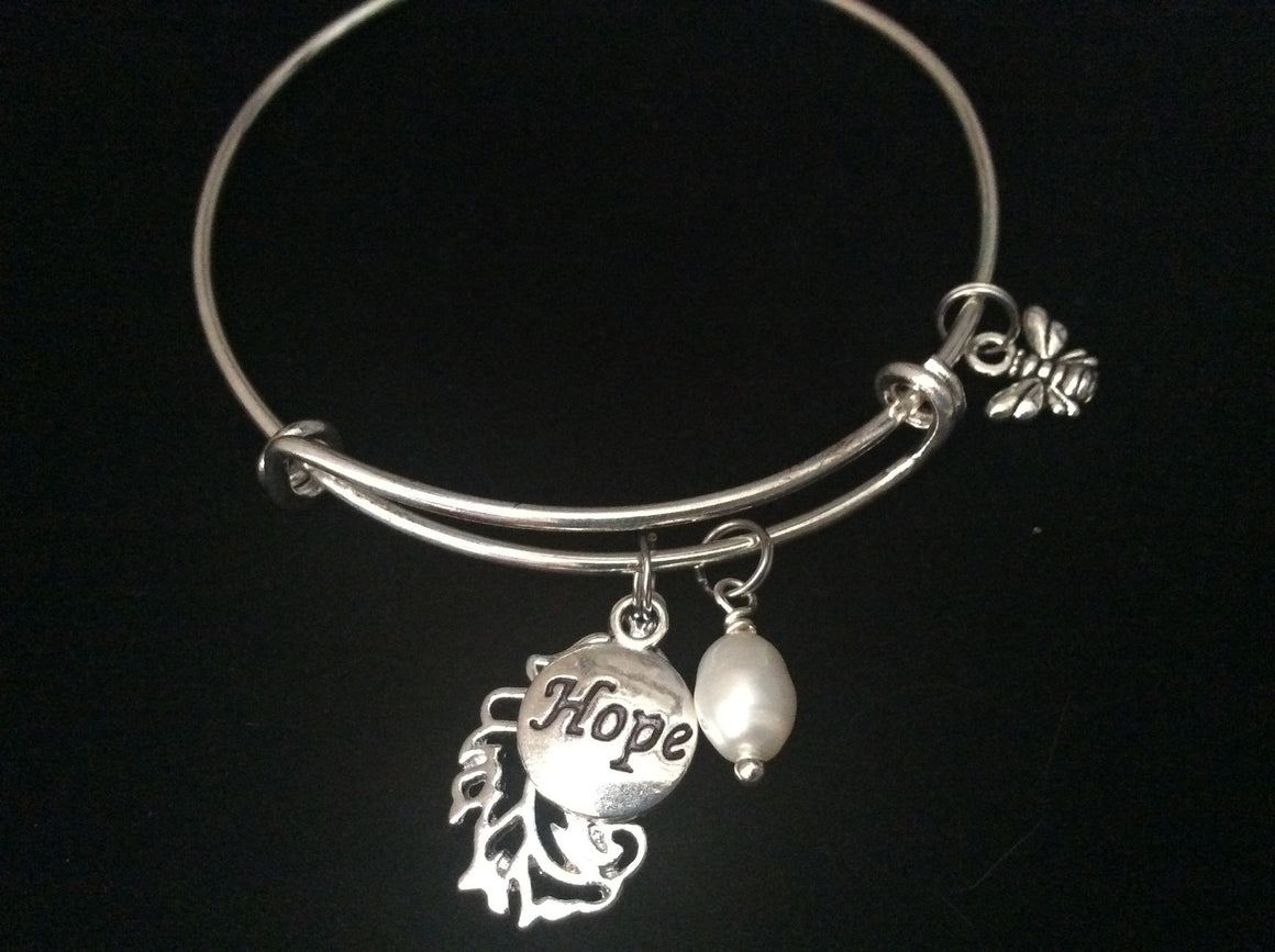A Feather of Hope with Freshwater Pearl on Silver Bracelet
