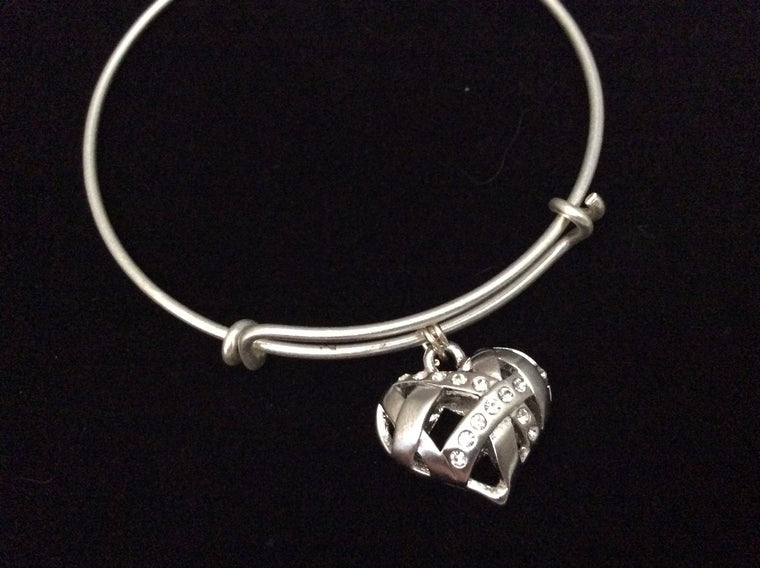 Silver Puffy Heart Double Sided 3D Charm Expandable Bracelet