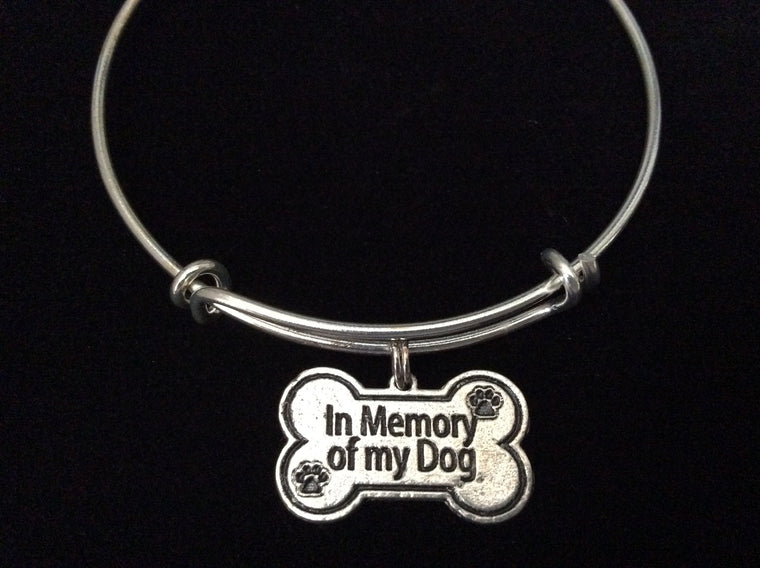 Bone Shaped In Memory of My Dog Charm on Silver Expandable Adjustable Wire Bangle