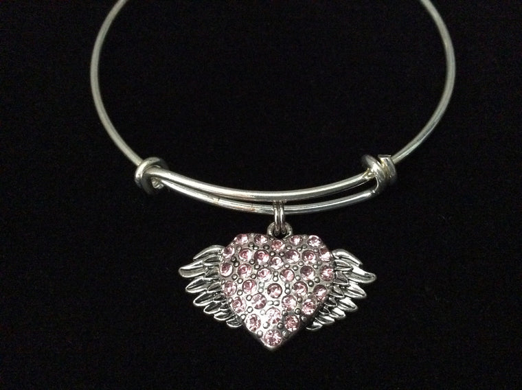 Pink Crystal Heart with Angel Wings Charm on Silver Expandable Adjustable Wire Bangle