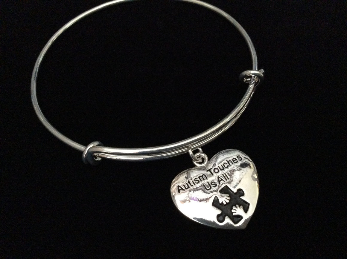 Autism Touches Us All Stamped Charm Puzzle Awareness Ribbon Expandable Charm Bracelet