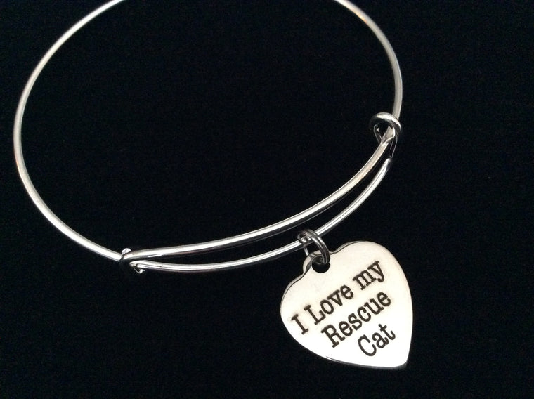 I Love my Rescue Cat Stainless Steel Expandable Charm Bracelet Handmade in USA Wire Bangle Gift Trendy Stacking