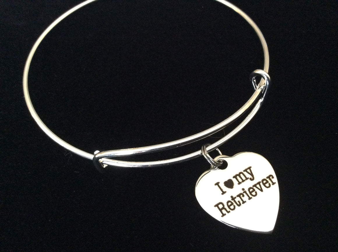 I Love my Retriever Stainless Steel Expandable Charm Bracelet Handmade in USA Dog Wire Bangle Gift Trendy Stacking