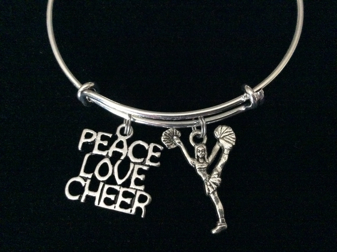 Peace Love Cheer Expandable Silver Charm Bracelet Cheerleader Adjustable Wire Bangle Handmade Graduation Gift Trendy