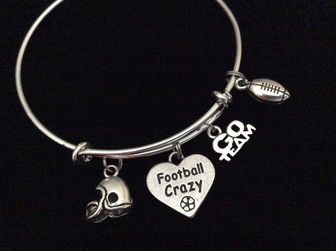 Football Crazy Expandable Silver Charm Bracelet Adjustable Wire Bangle 3D Helmet Handmade Gift Trendy
