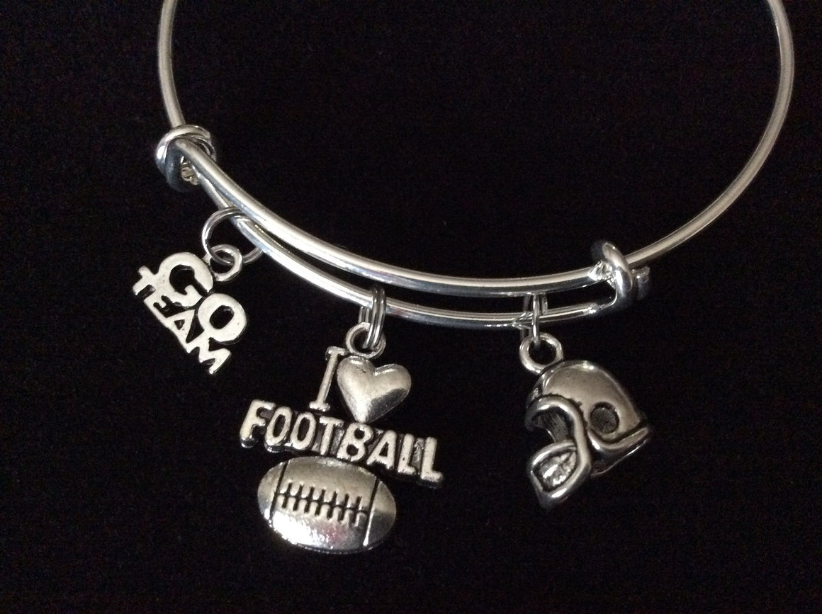 I Love Football Expandable Silver Charm Bracelet Adjustable Wire Bangle 3D Helmet Handmade Gift Trendy