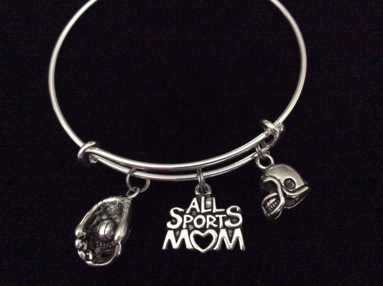 All Sports Mom Expandable Silver Charm Bracelet Adjustable Wire Bangle Handmade Gift Trendy Stacking Bangles