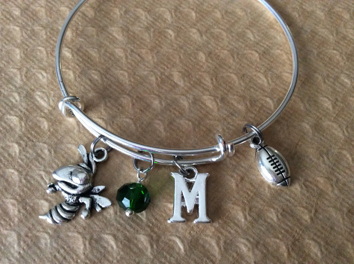 Medina Bees Expandable Silver Charm Bracelet Adjustable Wire Bangle Handmade MHS Graduation Gift Trendy