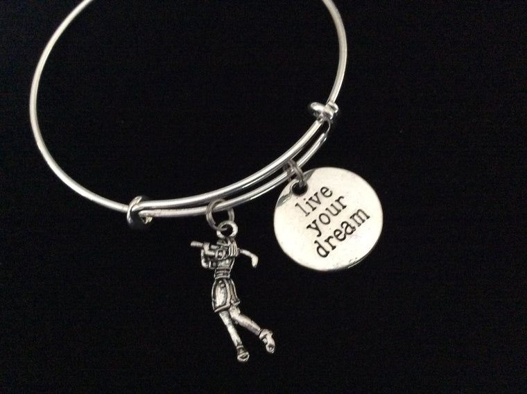 Woman Golfer Live Your Dream Golf Expandable Silver Charm Bracelet Adjustable Wire Bangle