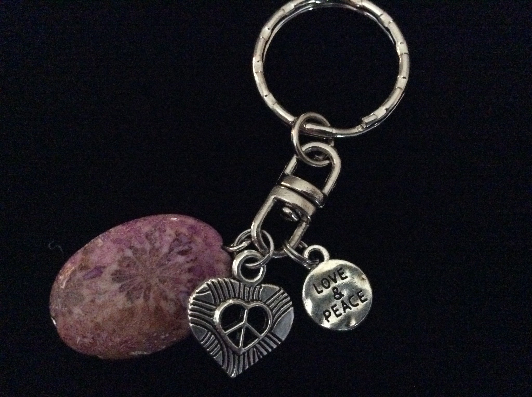 Love and Peace Key Chain Pink Fossil Stone Handmade Silver Keychain Key  Ring Meaningful Inspirational Trendy