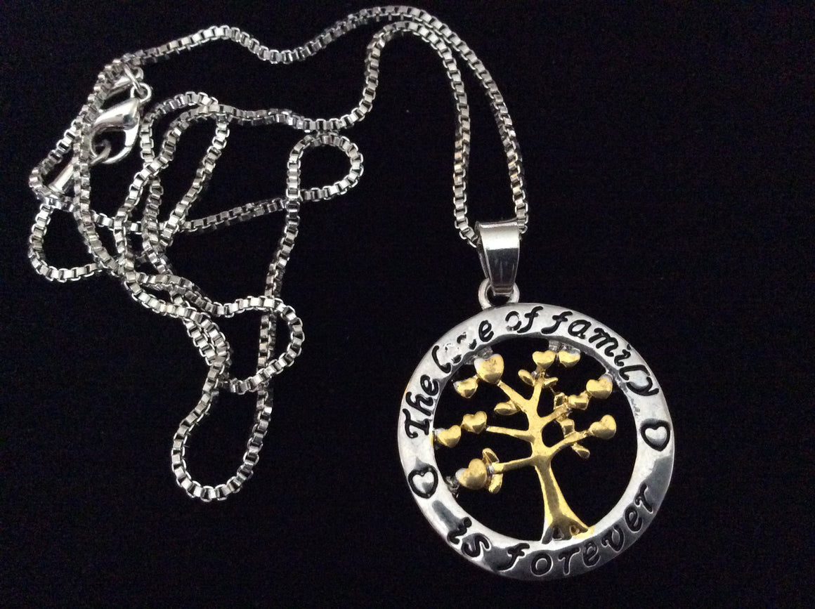 Necklace The Love of Family is Forever Stamped with a Gold and Silver 2 Toned Tree of Life Charm
