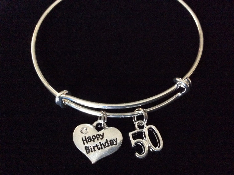 Happy 50th Birthday Expandable Charm Bracelets Adjustable Bangle