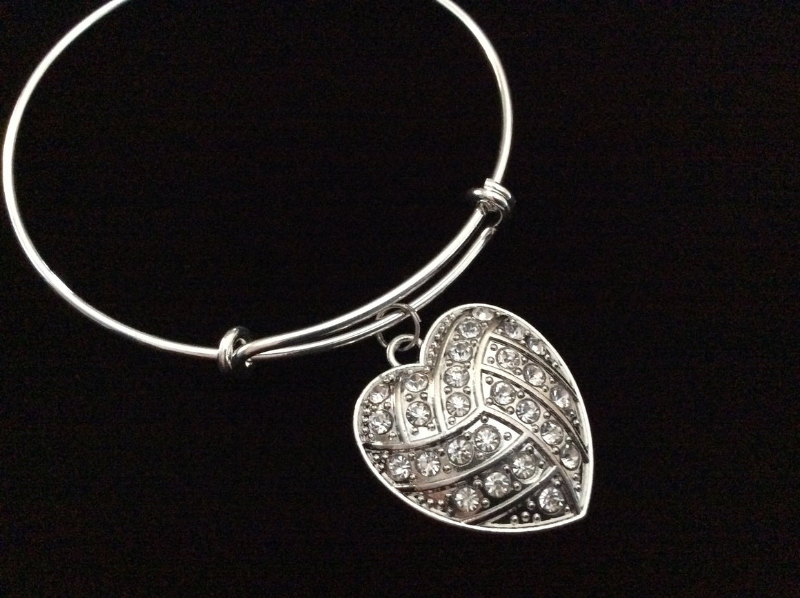 Crystal Volleyball Heart Charm on a Silver Expandable Wire Bangle Bracelet