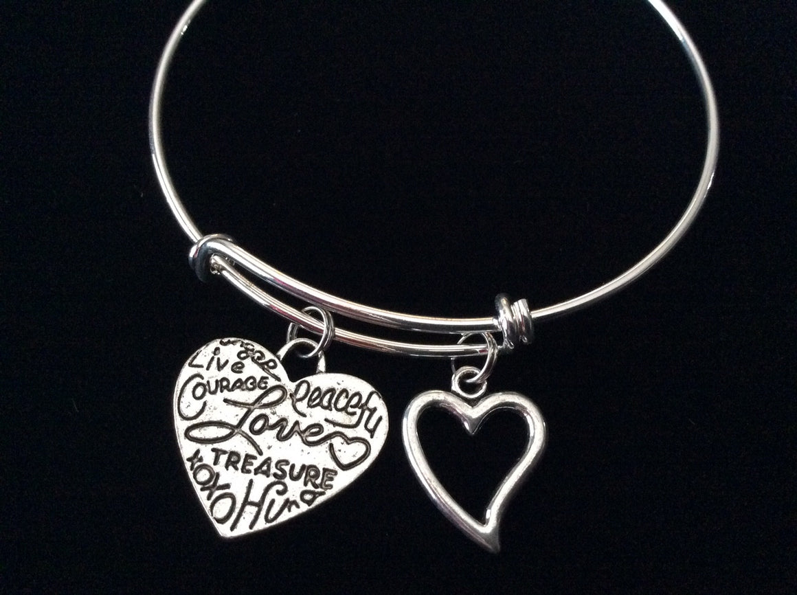 Affections Silver Heart Expandable Charm Bracelet Adjustable Bangle Trendy Gift