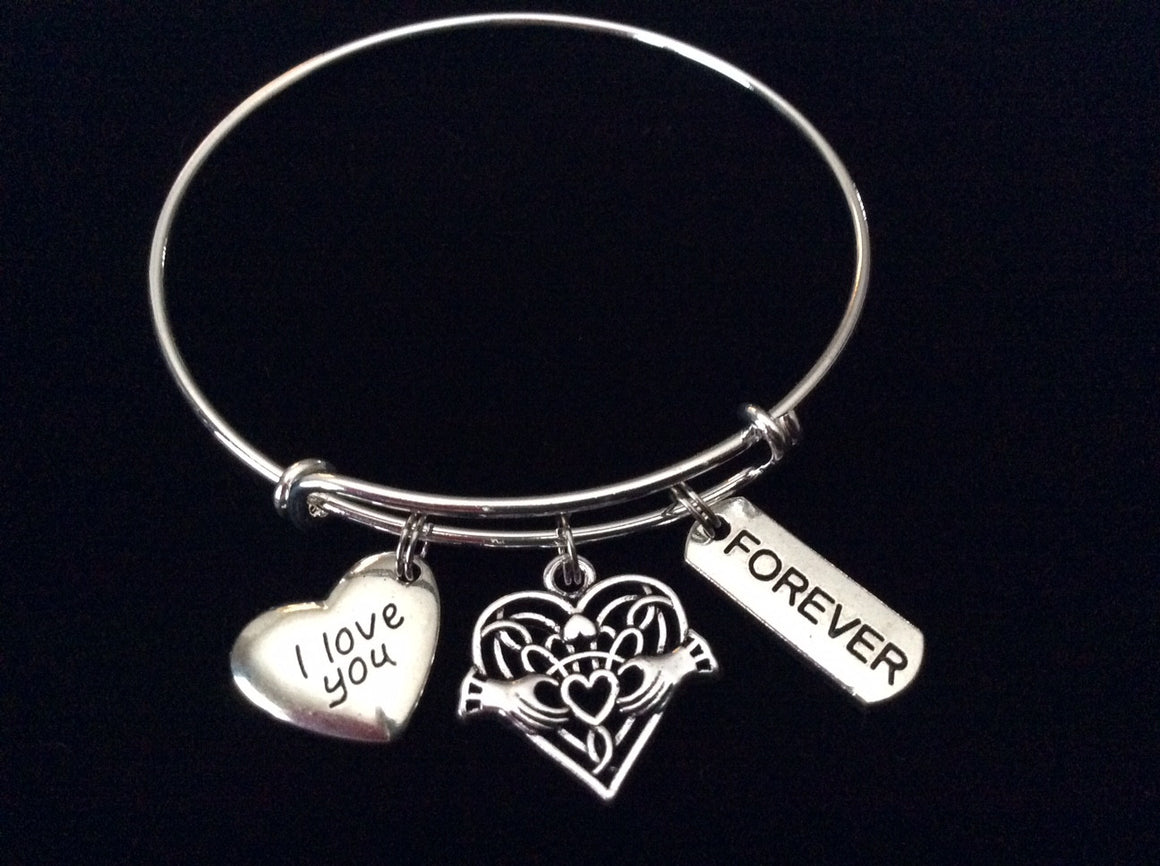 Expandable charm bracelets tagged inspirational and word quotes celtic claddagh i love you silver expandable charm bracelet adjustable stacking bangle biocorpaavc Choice Image
