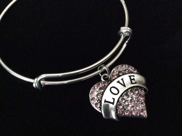 Pink Crystal Love Heart Expandable Charm Bracelet Adjustable Bangle Trendy Gift