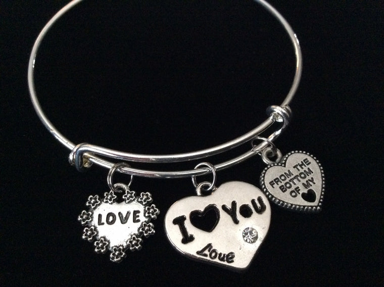 From the Bottom of My Heart I Love You Silver Expandable Charm Bracelet Adjustable Stacking Bangle