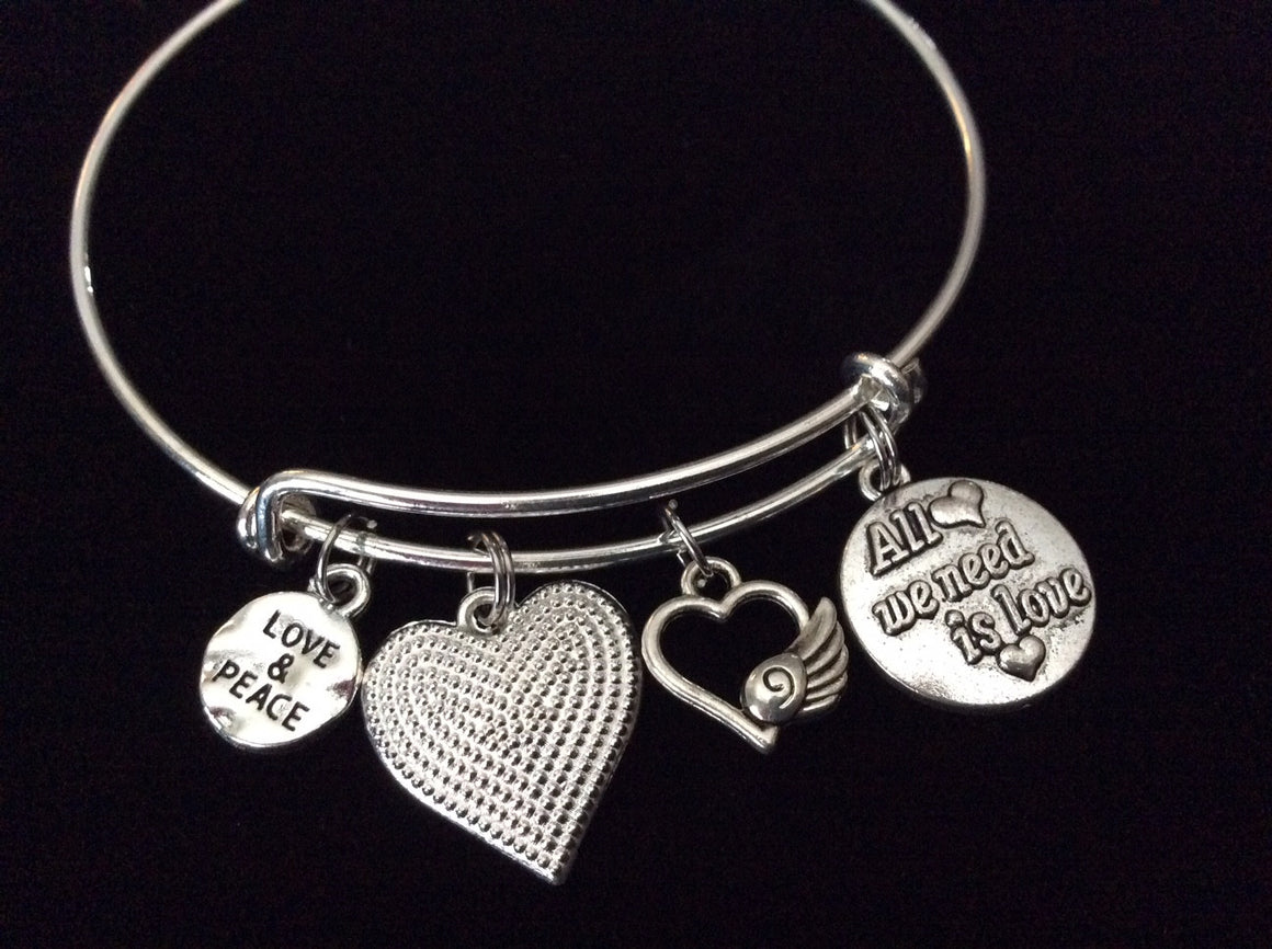 All we need is Love and Peace Adjustable Expandable Silver Bangle Bracelet