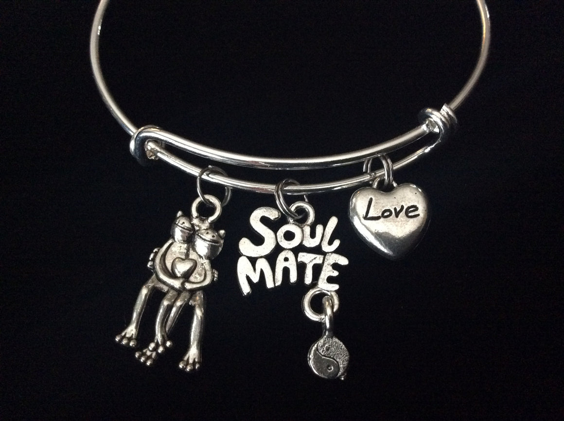 Soul Mate with Frogs and a Love Heart Expandable Charm Bracelet Adjustable Bangle Trendy Gift