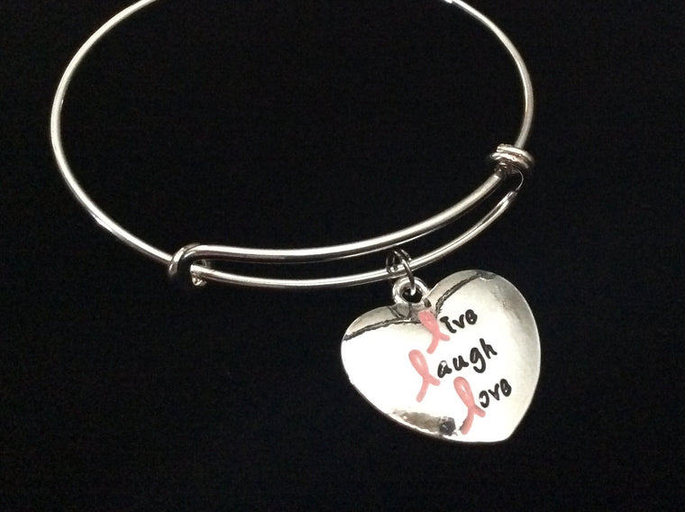 Pink Ribbon Live Laugh Love Heart Silver Expandable Charm Bracelet Gift Adjustable