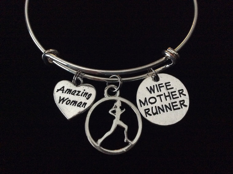 Gymnastics Mom Silver Expandable Charm Bracelet Sports Team Coach Gift Adjustable Wire Bangle