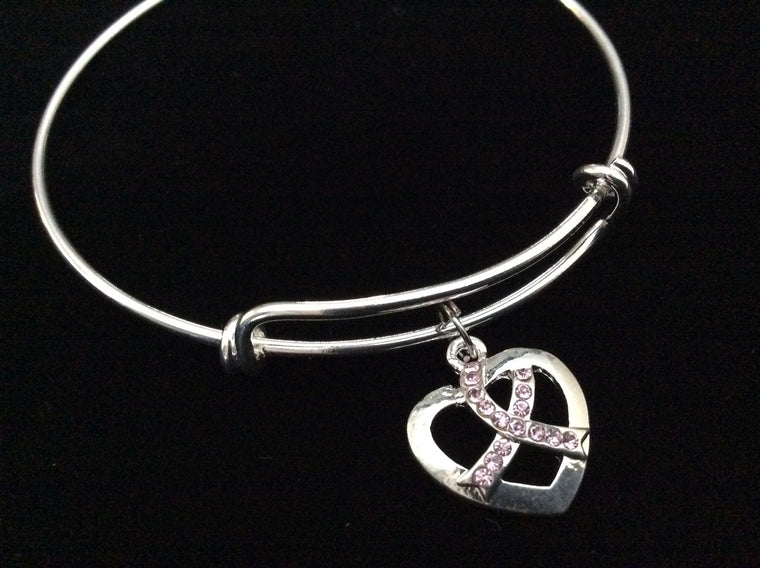 Crystal Pink Awareness Ribbon Heart Expandable Charm Bracelet Adjustable Bangle Meaningful Gift Breast Cancer