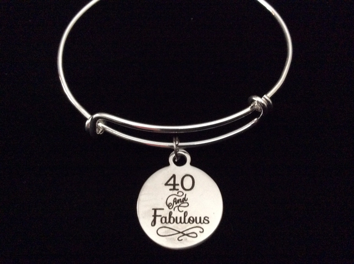 40 and Fabulous Happy 40th Birthday Expandable Charm Bracelet Adjustable Bangle