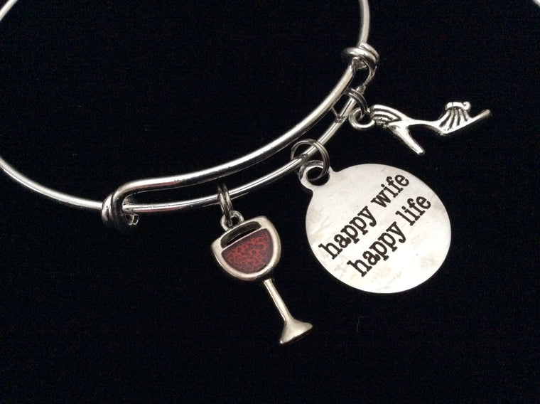 Happy Wife Happy Life with Martini and High Heel Shoe Expandable Charm Bracelet Adjustable Bangle Gift