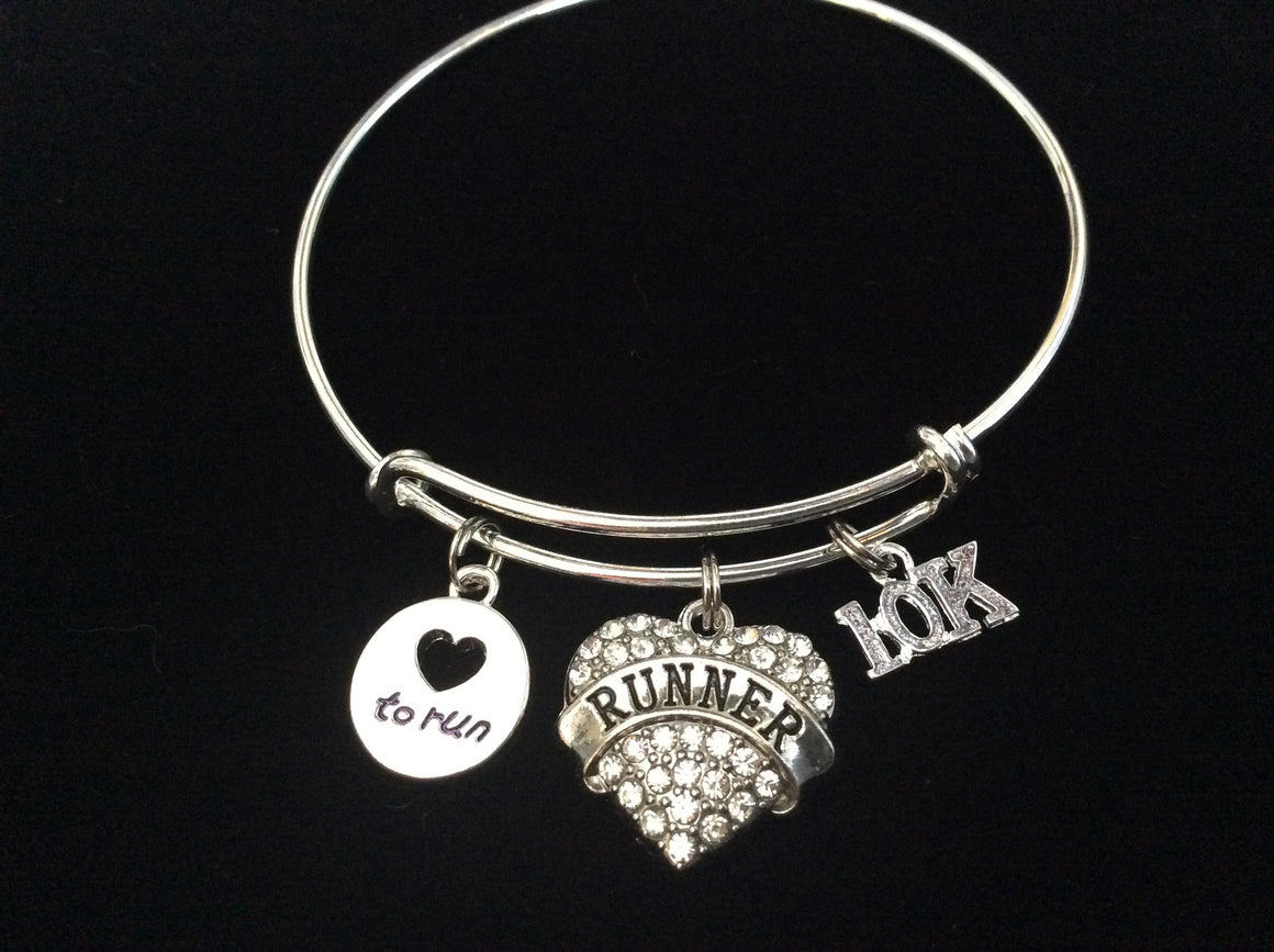10K Love to Run Runner Crystal Heart Silver Charm Bracelet Expandable Adjustable Wire Bangle Finish Line Gift Trendy