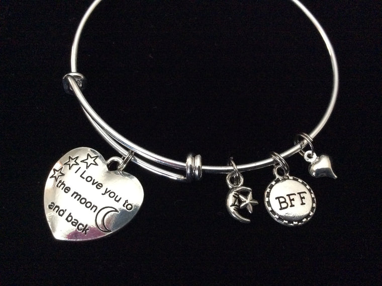 BFF I Love You to the Moon and Back Shooting Star Expandable Charm Bracelet Adjustable Wire Bangle Gift