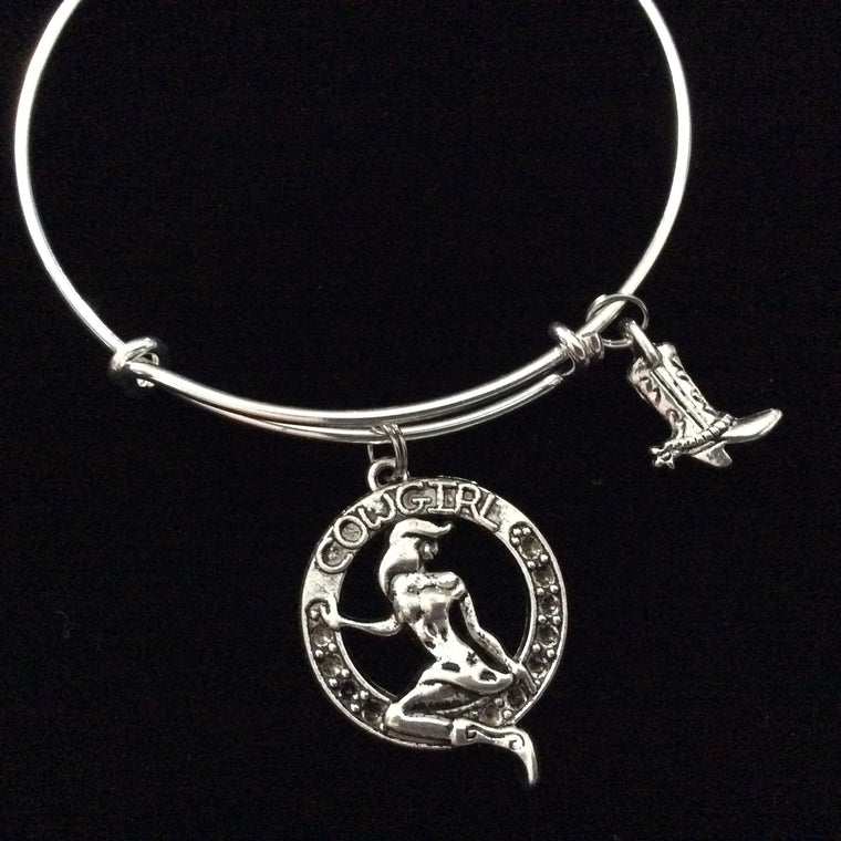 Cowgirl Expandable Adjustable Bangle Expandable Charm Bracelet Trendy Stackable Western