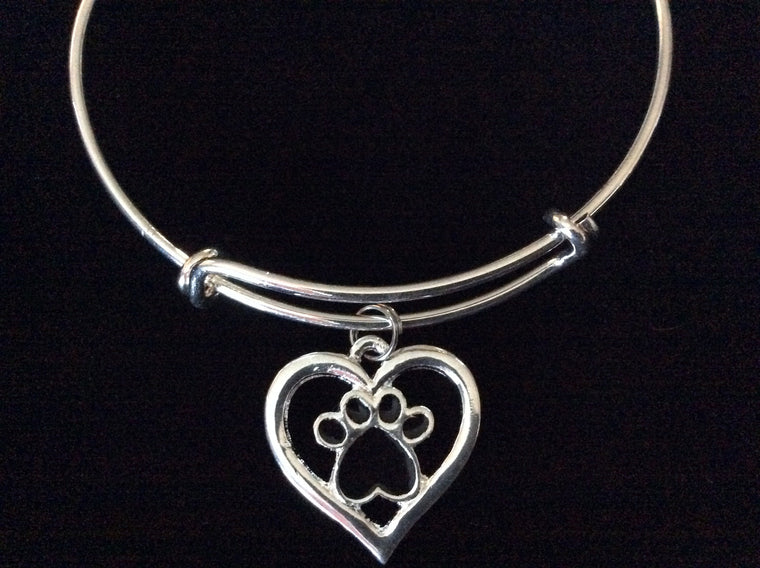 Animal Paw Print Open Heart Charm Silver Expandable Adjustable Bangle Bracelet Meaningful Gift Animal Lover Gift Dog Cat Puppy Kitten