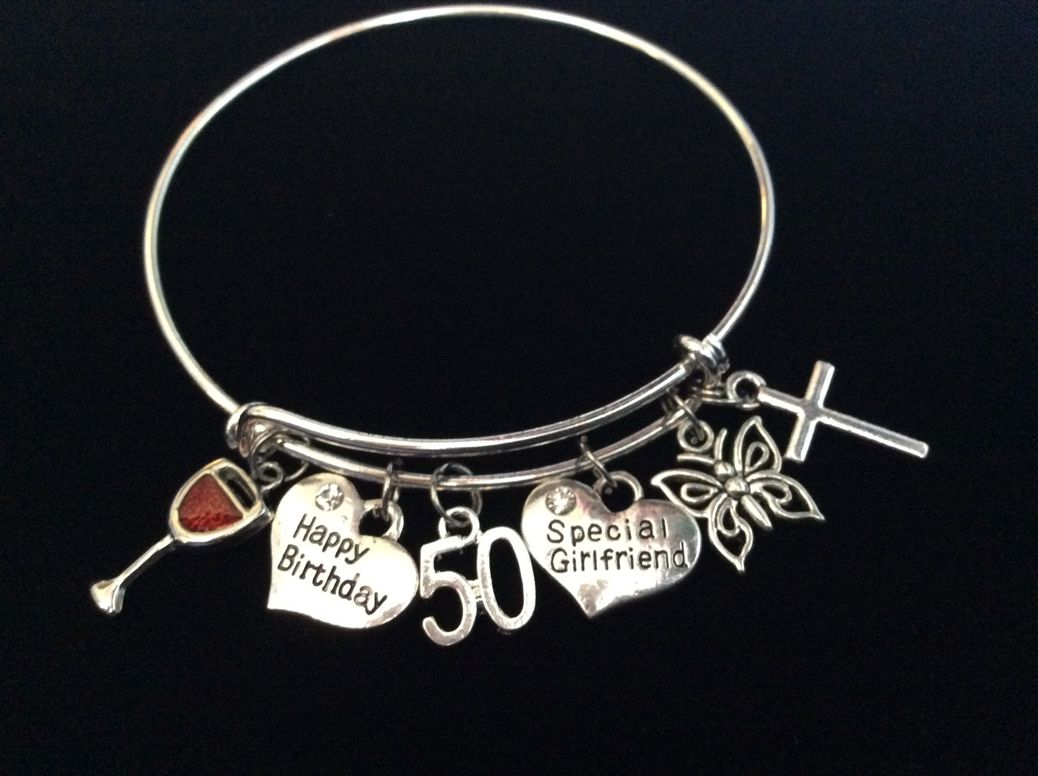 Girlfriend Happy 50th Birthday Wine And Butterfly Expandable Charm Bracelet Adjustable Bangle Gift