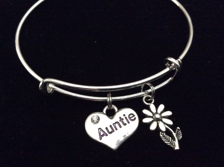 Auntie Heart Silver Expandable Charm Bracelet Adjustable Aunt Bangle
