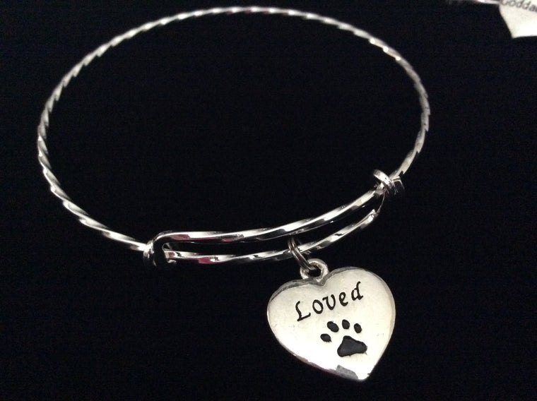Silver Loved Heart Dog or Cat Paw Charm on a Silver Expandable Adjustable Bangle Bracelet Meaningful Gift Animal Lover Gift