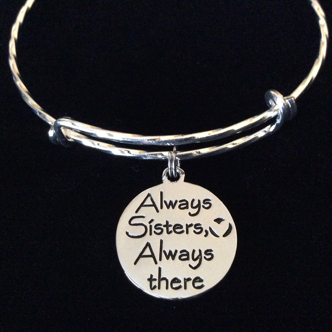 Always Sisters Always There Expandable Silver Charm Bracelet Adjustable Bangle Family Gift
