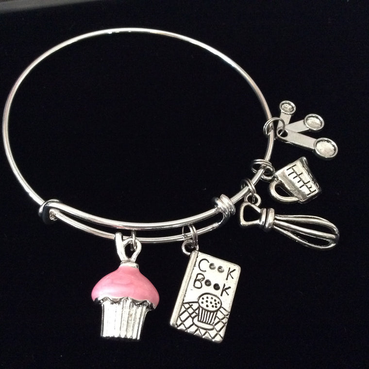 Baker's Dream Silver Bangle Bracelet Adjustable Expandable Chef Gift Cookbook Kitchen Equipment Pink Cupcake Silver