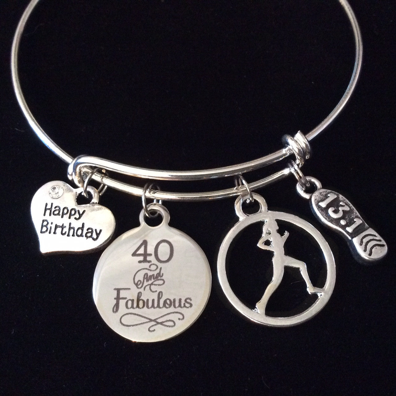 Happy Birthday Forty And Fabulous 131 Runner Expandable Silver Charm Bracelet Adjustable Wire Bangle Trendy Race