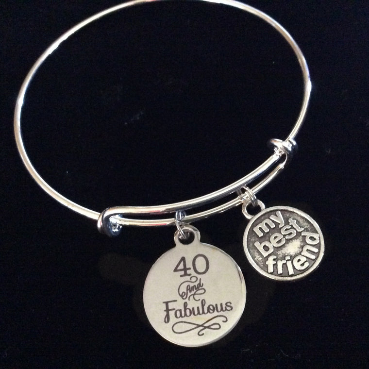 40 and Fabulous My Best Friend Happy 40th Birthday Expandable Charm Bracelet Adjustable Bangle Gift