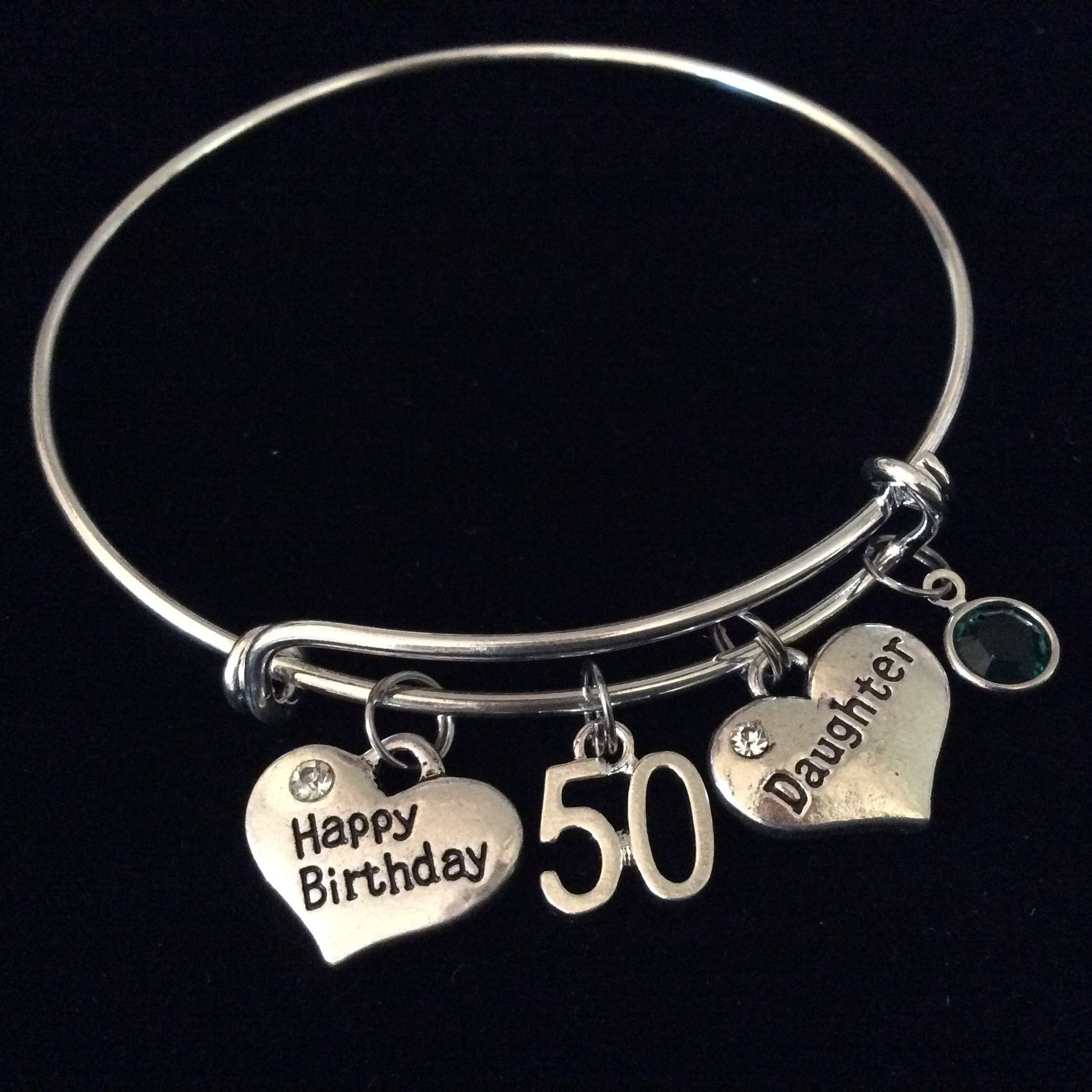 Daughter Happy Birthday 50th Expandable Charm Bracelet Adjustable Bangle Trendy Gift