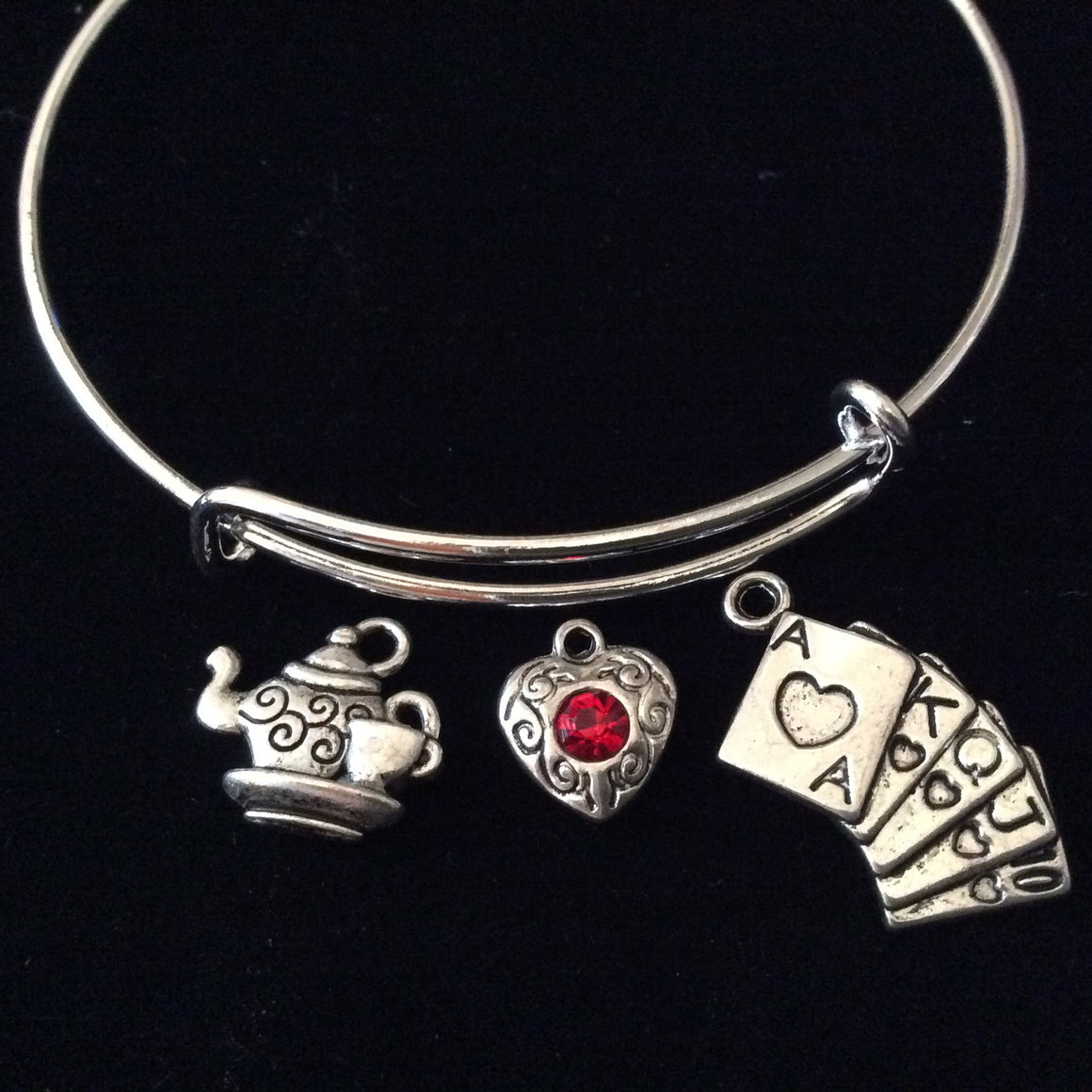 Alice's Wonderland Playing Cards and Teapot Silver Expandable Charm Bracelet Adjustable Bangle