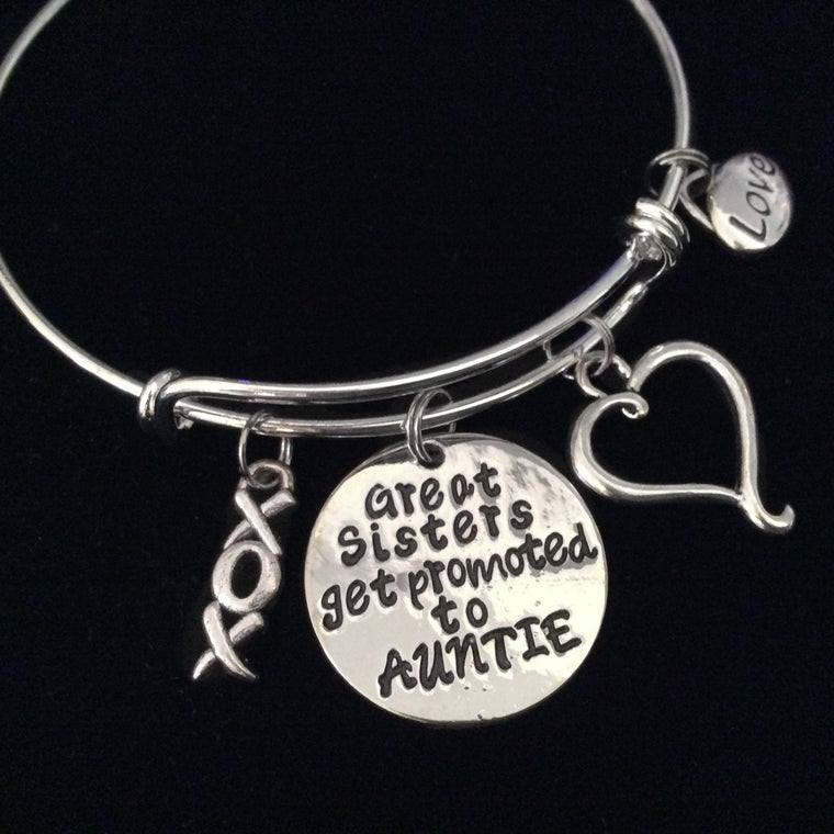 XOXO Great Sisters get Promoted to Auntie Expandable Charm Bracelet Adjustable Bangle Aunt Sister Family Gift