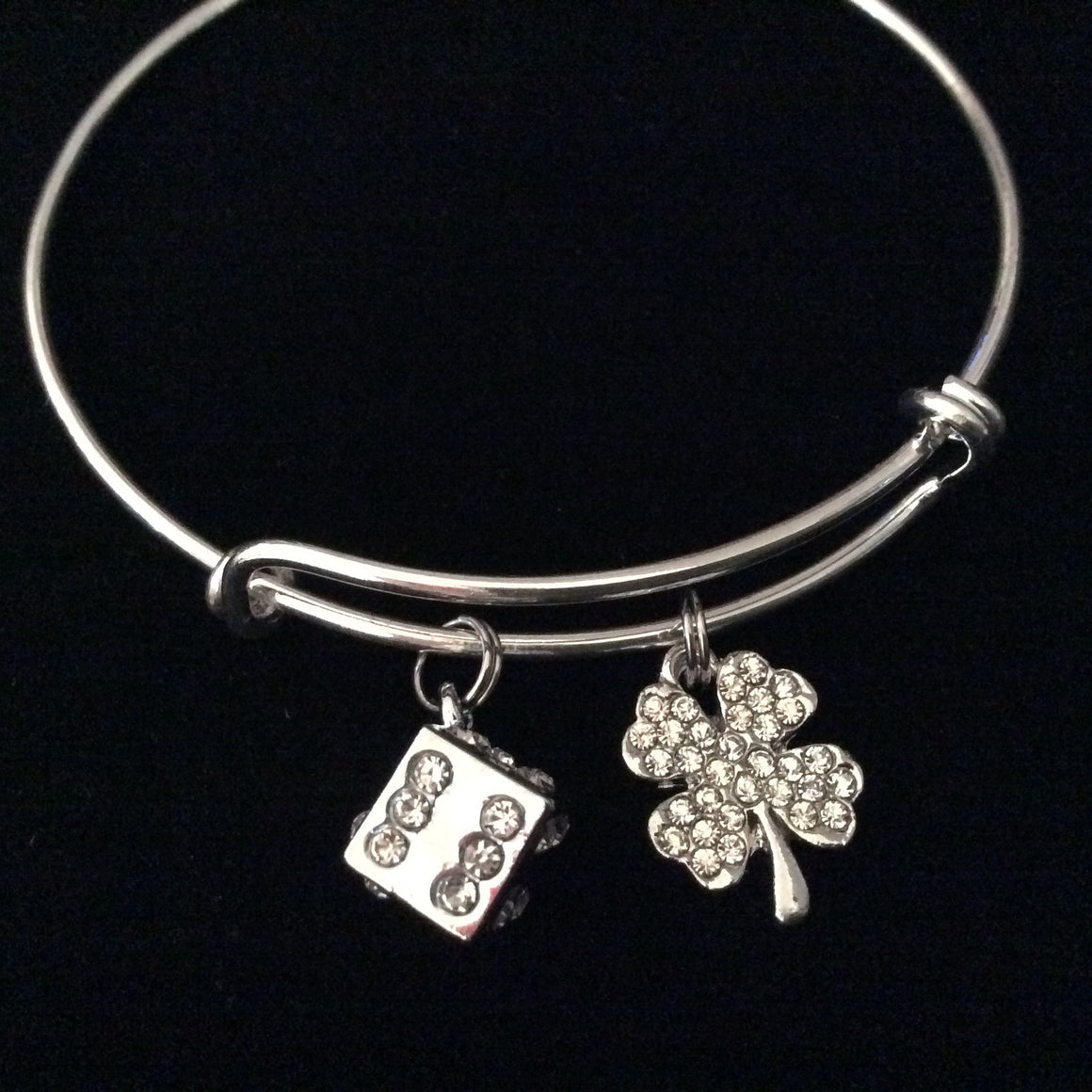 Lady Luck Rhinestone Crystal Dice and Four Leaf Clover Charm on Silver Expandable Adjustable Wire Bangle Bracelet Stacking Handmade Trendy Casino Gift