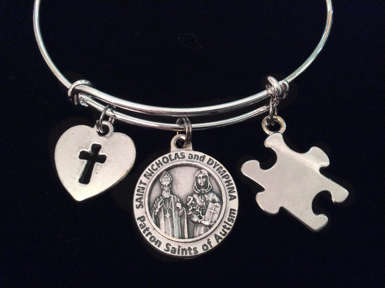 Autism Patron Saint Dymphna and Nicholas Silver Puzzle Piece Expandable Charm Bracelet Adjustable Wire Bangle Expandable Autistic Teacher Gift