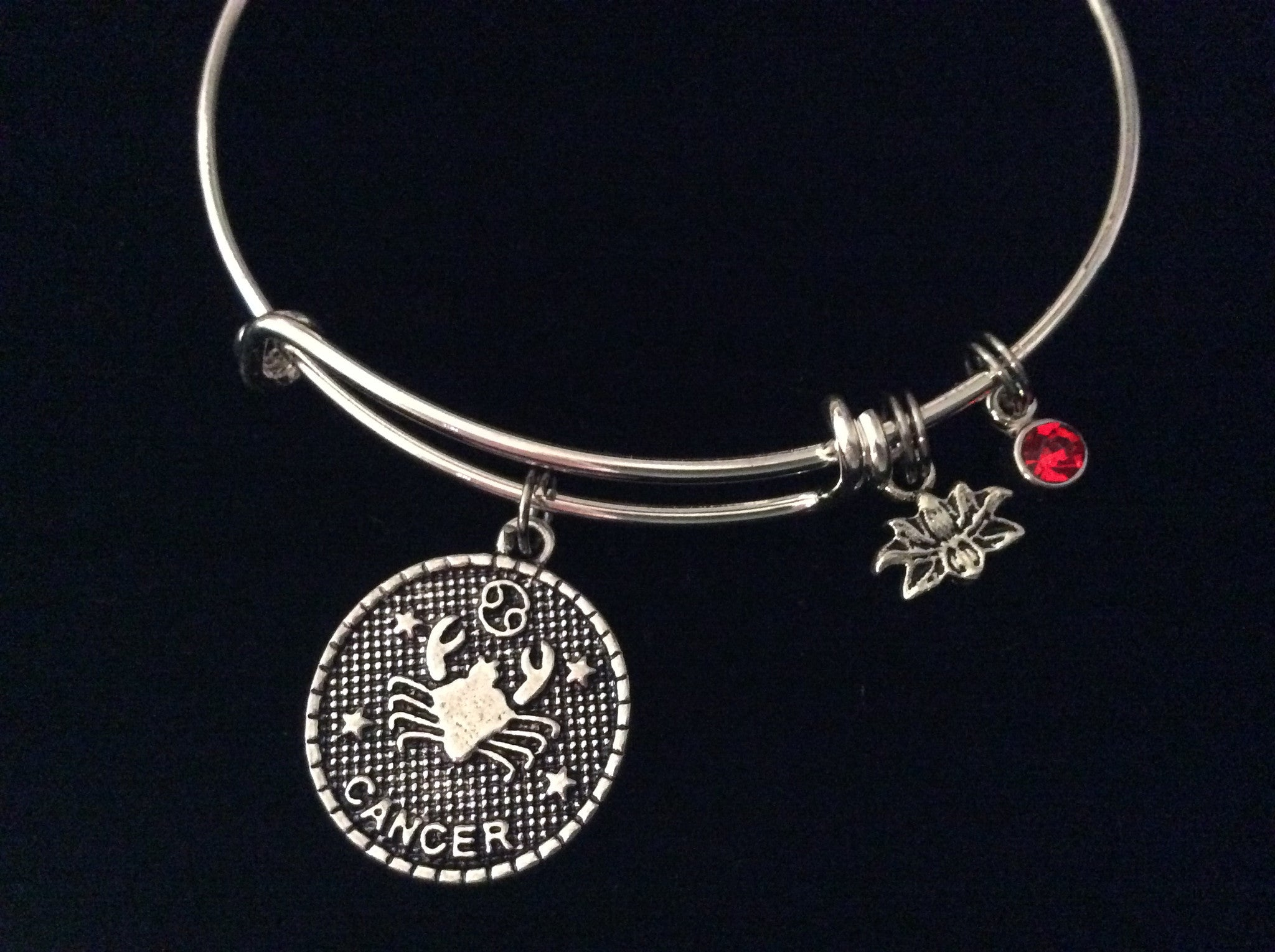 Cancer Zodiac Charm Lotus Red Ruby Birthstone Silver Expandable Bracel