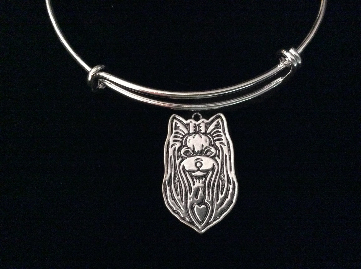 Yorkshire Terrier Dog Silver Expandable Charm Bracelet Adjustable Bangle Meaningful Dog Lover Gift Puppy Dog