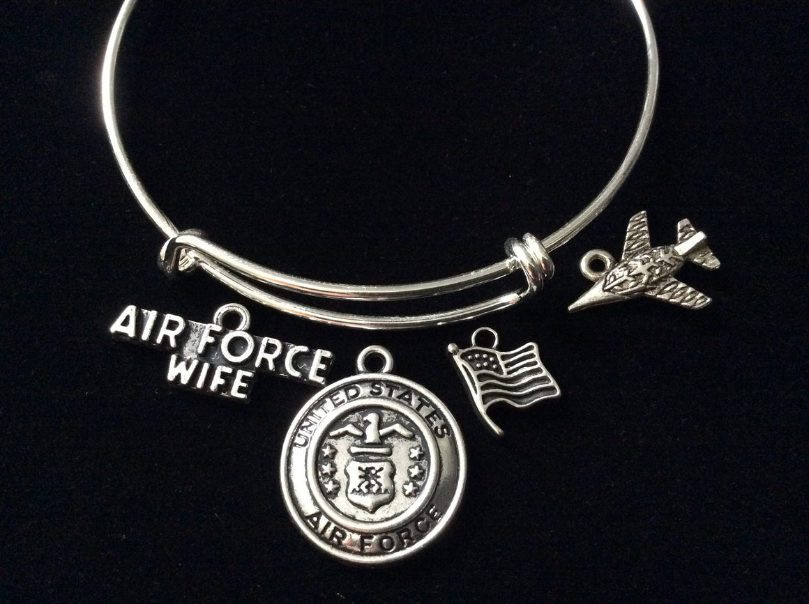 Air Force Wife Expandable Charm Bracelet Fighter Pilot Adjustable Bangle Gift USA Military Jewelry