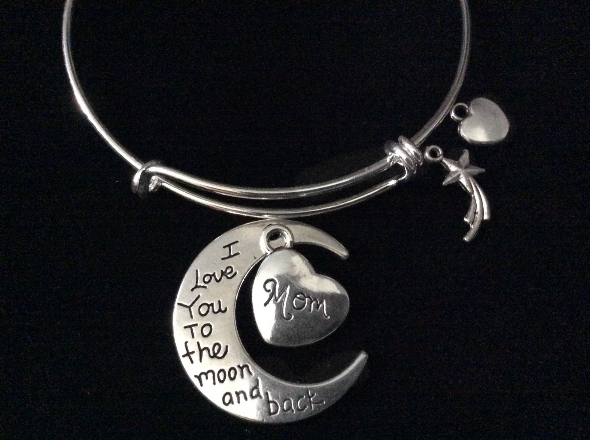 1b3ce9b94d5d8 I Love you to the Moon and back Mom Charm Silver Expandable Charm Bracelet  Wire Bangle Meaningful Gift Adjustable Stacking Trendy