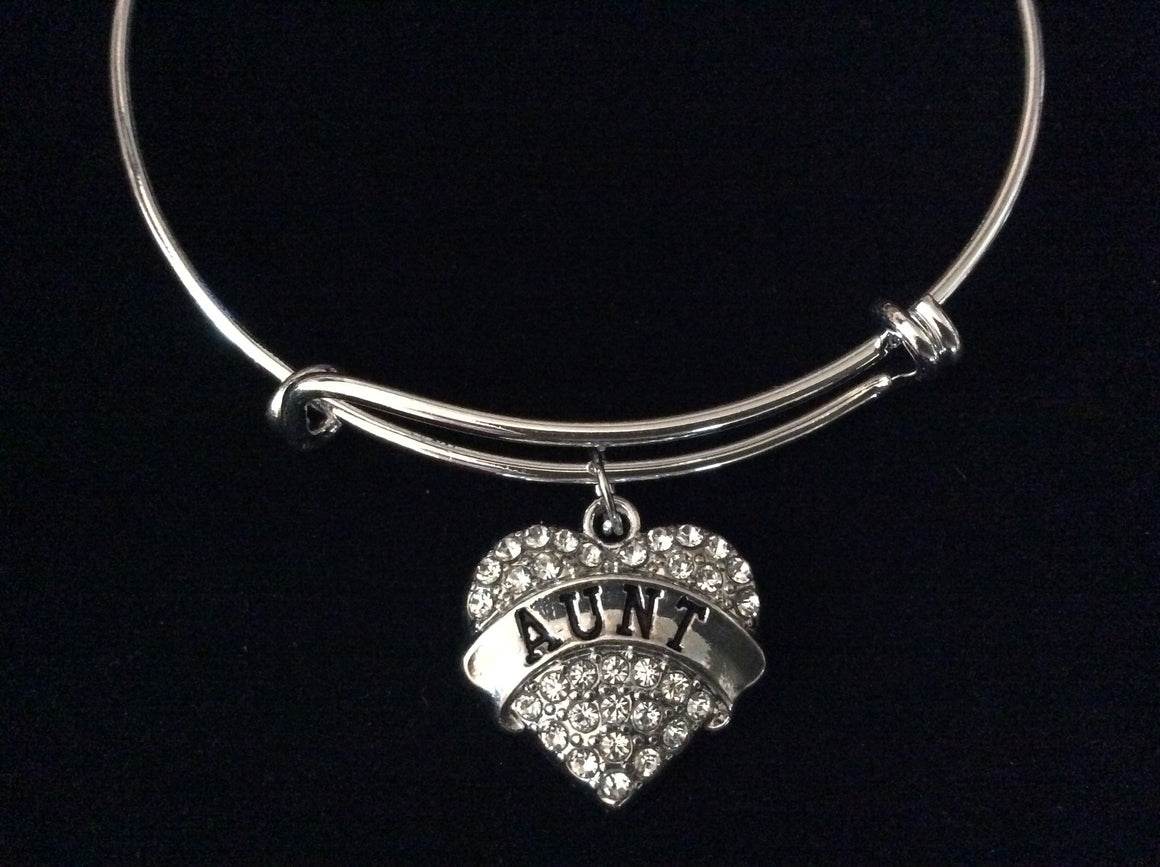Aunt Crystal Heart Expandable Charm Bracelet Adjustable Bangle Gift Trendy Fun Unique Gift