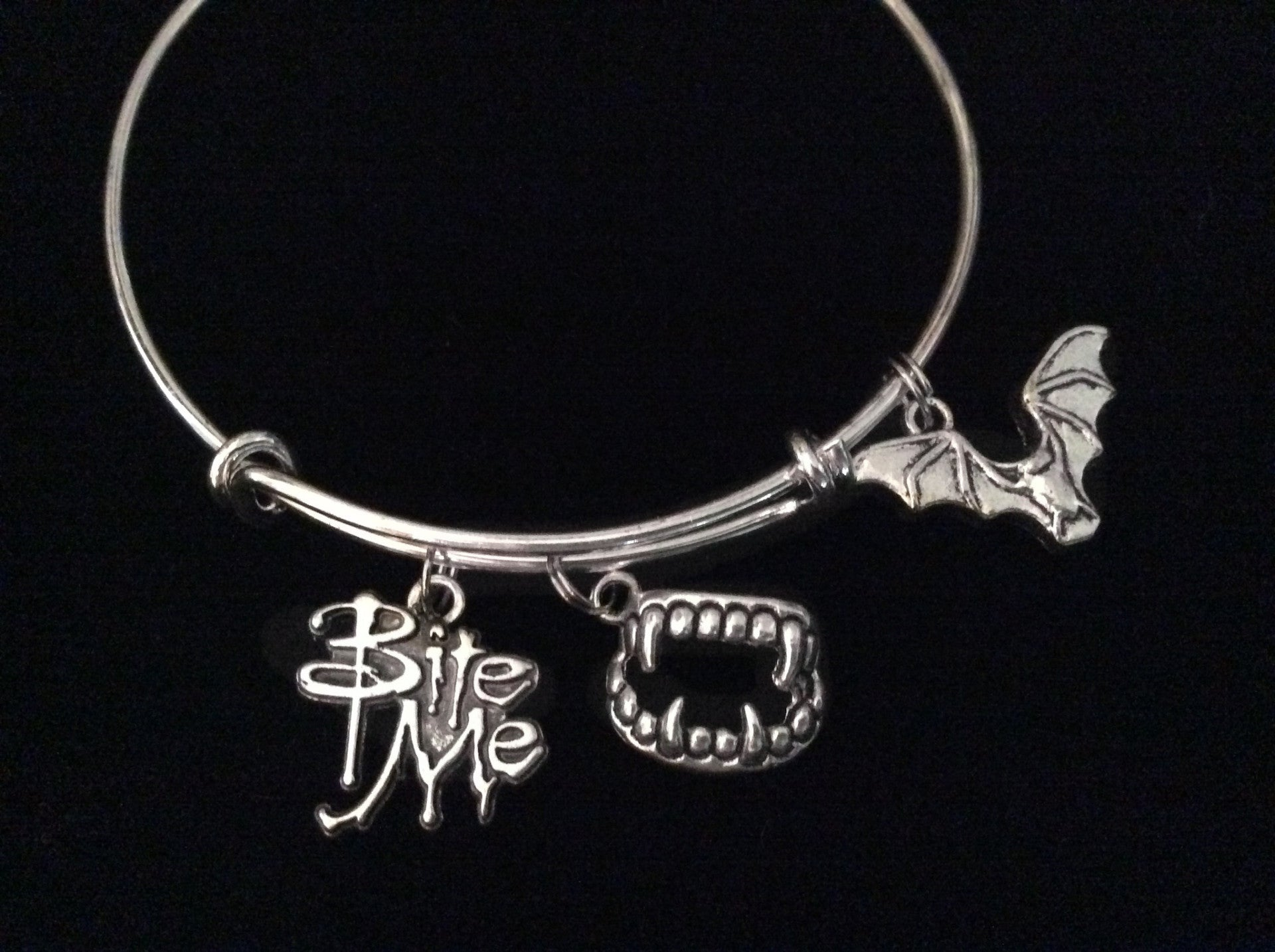 Bite Me Charm with Vampire Teeth Bat Silver Expandable Charm